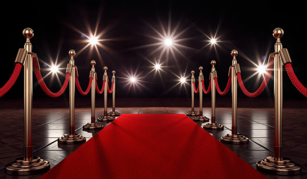 3d roter Teppich für ein besonderes Event der Vips, Blitzlichtgewitter ist dann garantiert.