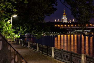Moscow, St. Andrew promenade and view of the Moscow University in night, Russia