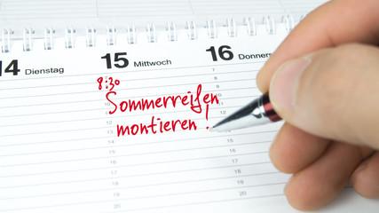 Sommerreifen montieren / Termin im Terminkalender / Terminplaner