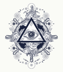 All seeing eye pyramid tattoo art. Freemason concept