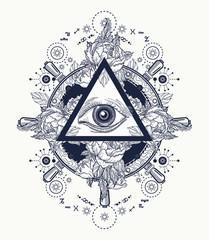 All seeing eye pyramid tattoo art. Freemason concept