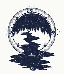 Star river flows from the compass tattoo art, travel symbol