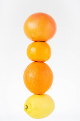 Close up of ripe fresh citrus fruits