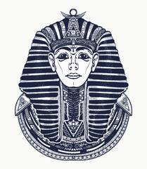 Pharaoh tattoo art, Egypt pharaoh graphic, t-shirt design