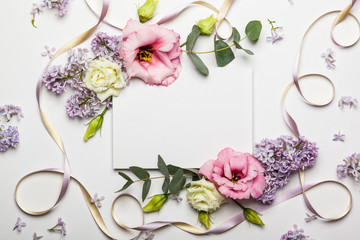 Flowers and invitation card