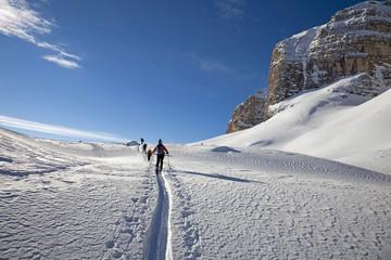 Ski touring, ski mountaineering in the Dolomites, Piz Boe, eastern Alps, Bolzano, South Tyrol, Italy, Europe