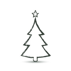 Christmas trees icon in grunge style, vector simple design. Black symbol of fir-tree, isolated on white background.