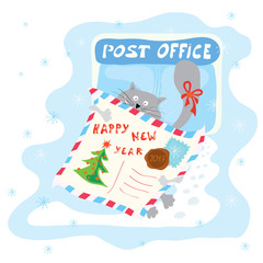 happy new year/ merry cat has received in the mail a letter of congratulation, during the winter holidays