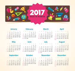 Vector Calendar 2017 year. Week Starts Sunday