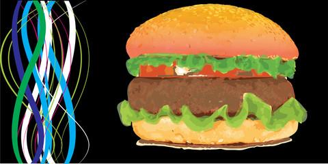 Hamburger Banner Fast food Restaurant menu