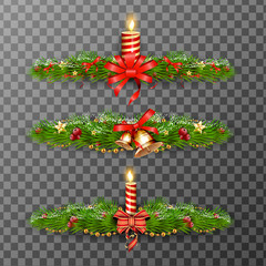 Christmas decorative elements isolated on transparent background. Vector illustration.