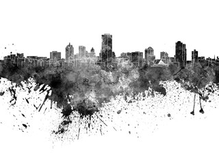 Milwaukee skyline in black watercolor