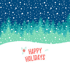 Happy Holiday greeting card. Vector winter holiday shine blurred background with hand lettering calligraphic, snowflakes, trees, falling snow.