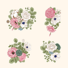 Bouquet of flowers. Wedding card. Vector illustration.