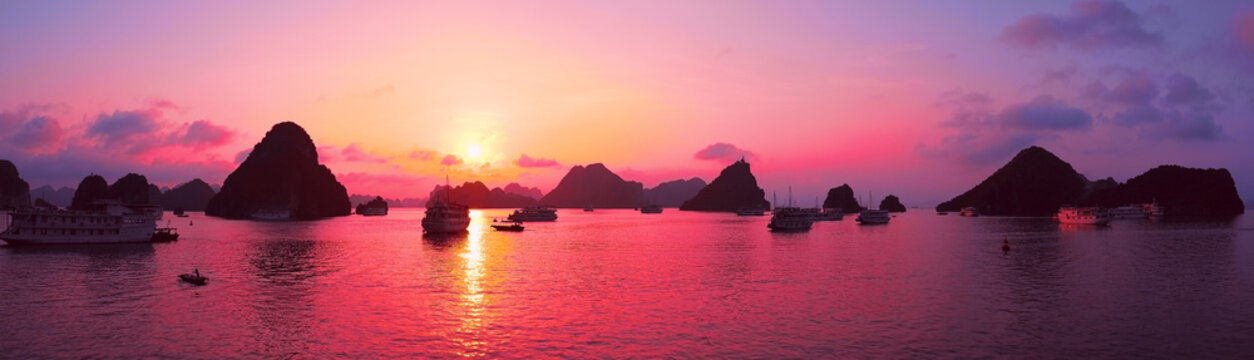 Pink sky, sunset. Panorama of Halong Bay, Vietnam