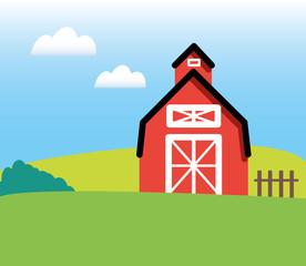 Farm Barn Countryside Vector Illustration