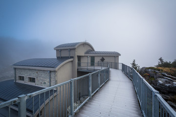 The Top Shop in fog, at Grandfather Mountain, North Carolina.
