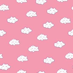 Awesome seamless pattern with cute sleeping clouds. Good night!