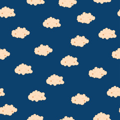 Beautiful seamless pattern with cute sleeping clouds. Good night