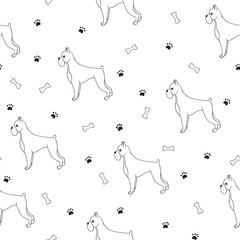 Awesome seamless pattern with cartoon cute contour dogs. Breed -