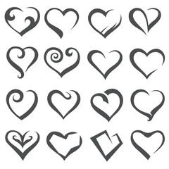 monochrome collection of various icons of hearts