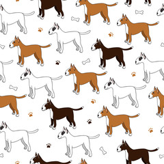 Awesome seamless pattern with cute cartoon dogs. Breed bullterie