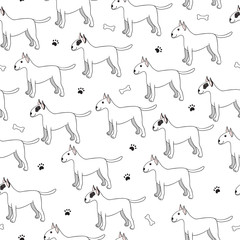 Unusual seamless pattern with cute cartoon dogs. Breed bullterie