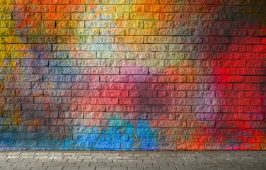 In de dag Graffiti Colorful brick wall