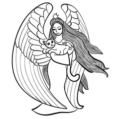 Vector illustration of angel with star holding cat black and white