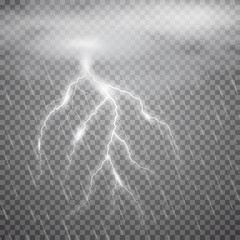Realistic vector lightning  with rain, cloud on checkered background. Bright, electric lightning.