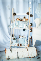 Christmas decoration with pine cones in Russian style