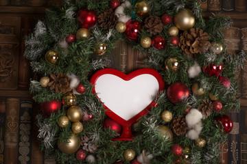 Love frame in Christmas wreath