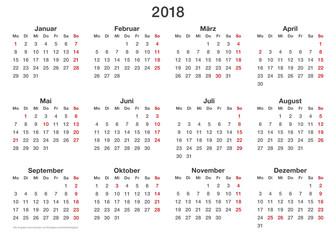 Kalendervorlage 2018, einfache in Querformat auch für die Visitenkartengröße (85x55 mm) geeignet!