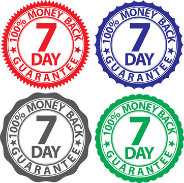 7 day 100% money back guarantee sign set, vector illustration