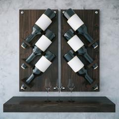Dark wooden wine rack