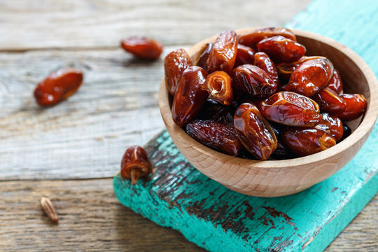 Bowl with delicious dried dates.