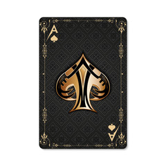 Ace of spades. Playing card vintage style. Casino and Poker. Modern art on an antique background. Black and gold design with a pattern.