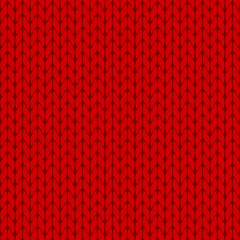 Knitted red background pattern vector isolated
