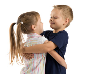 friends boy and girl hugging each other