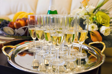 many of the champagne glasses on the table. Soft Focus, Selectiv