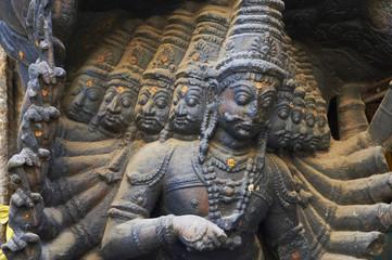 Sculpture at the entrance of the Puthu Mandapa market, Madurai, Tamil Nadu, India, Asia