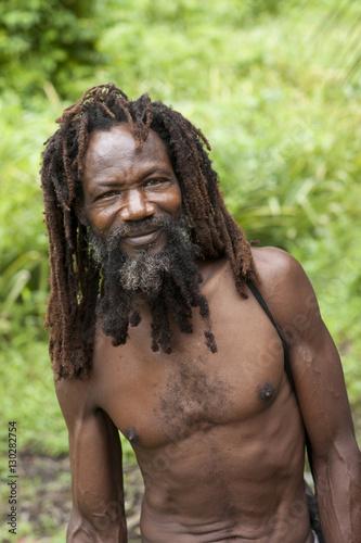 Man In Dreadlocks On His Pineapple Farm Delices Dominica Windward Islands West