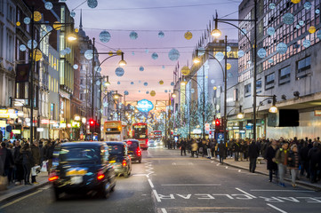 Foto auf Leinwand London roten bus London Oxford Street, Christmas Day