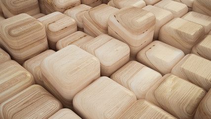 Abstract background with cubes and texture of wood. 3d illustrat