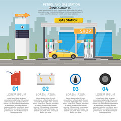 Gas filling station Vector flat illustration oil service with shop infographics elements and background set