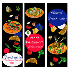 French cuisine vertical banners. Food menu design. Vector drawn sketch illustration.