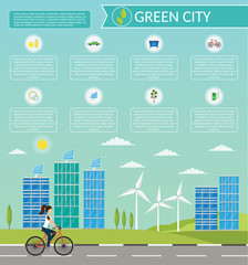 Ecology bike infographic vector elements illustration and environmental risks and pollution. City life set