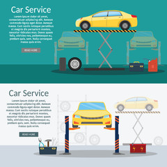 Center Mechanical car service with repair of Check Up vehicles Flat horizontal banners wheel machine vector illustration