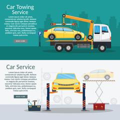 Tow truck city road assistance service evacuator Online car help Flat design vector background illustration set