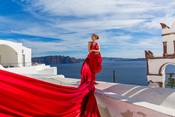 Woman in a beautiful red dress